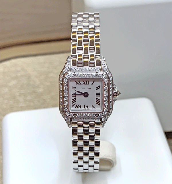 ケース全体に敷き詰められたダイヤモンドがドレッシーさを強調します。